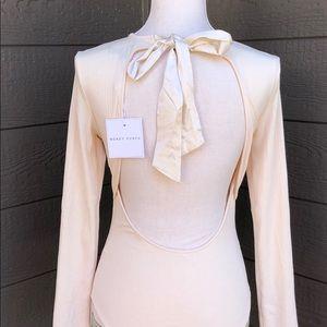 Honey Punch Long Sleeve Open Back Bodysuit.